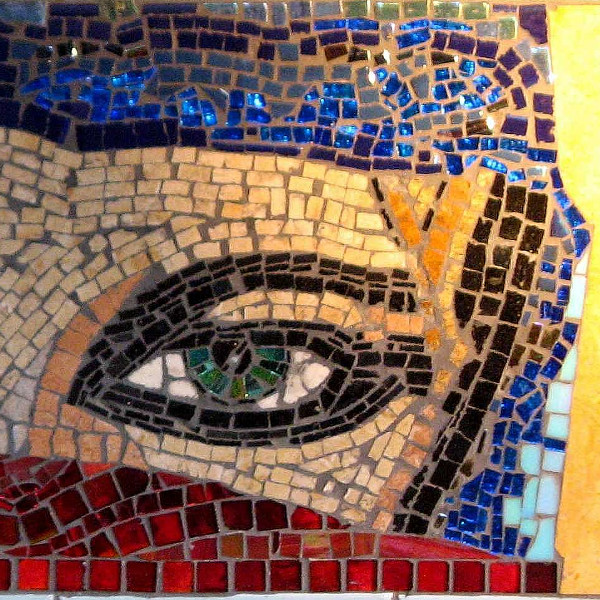 Mosaic portrait of a veiled greeneyed lady