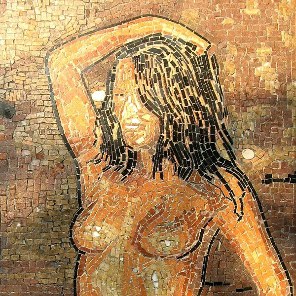 mosaic portrait of a nude baigneuse