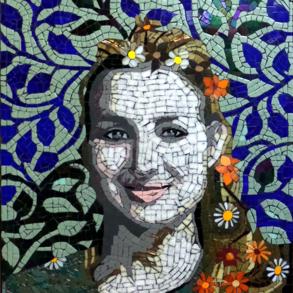 Mosaic portrait of a young talented pianist