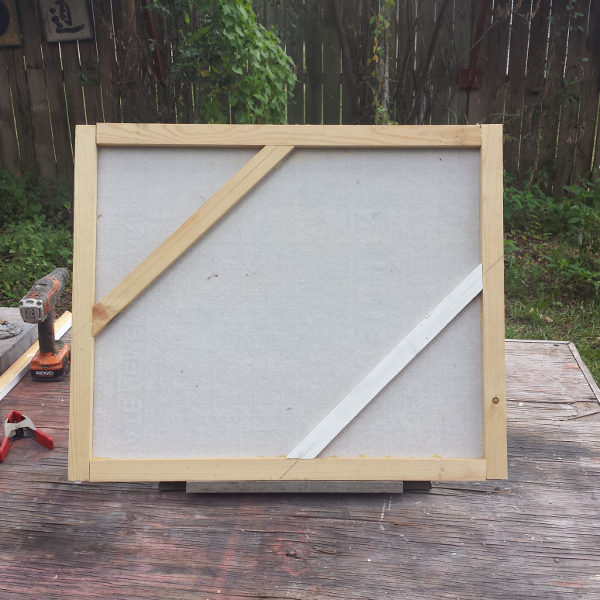 framed cement board support , back view