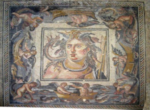 The Thetys looted mosaic surrounded by its original border