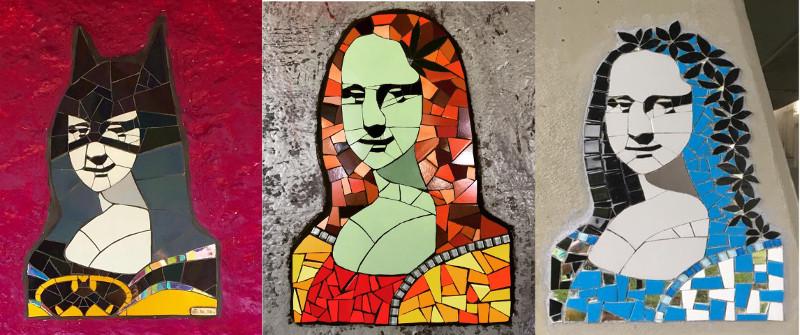 3 mosaic portraits of Mona Lisa