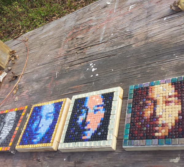 4 variations of a same mosaic portrait