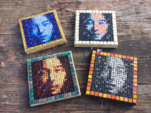 the 4 variations of the original Asian Face mosaic portrait
