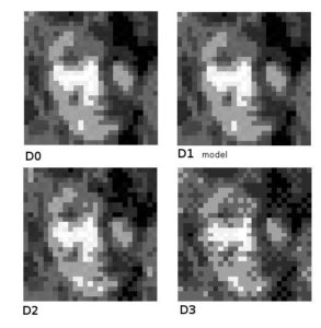 4 modes of pixellization of the same picture