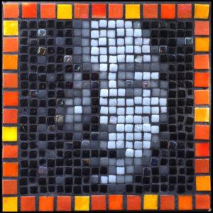 Variation #2 on Asian face mosaic portrait Opus Pixellatum.