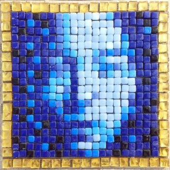 Blue Asian Face mosaic portrait