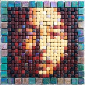 Variation #4 of Asian Face mosaic Portrait,Opus Pixellatum.