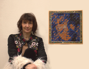 Claire and her mosaic portrait