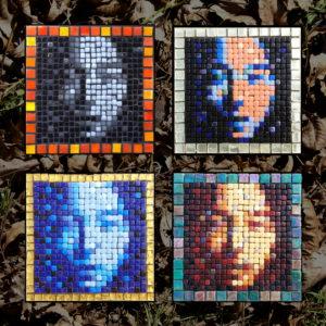 4 Asian Face mosaics derived from the same Opus PIxellatum model.