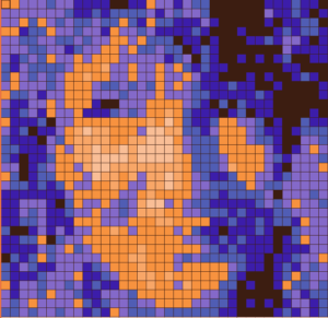 pixellized model with adjusted colors.