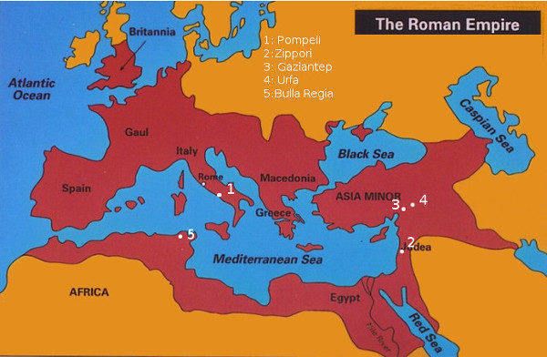 Map of Roman Empire showing the five portraits locations