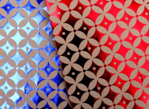 details of geometric patterns printed on paper bags