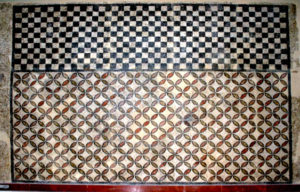Roman Floor mosaic with checker board and 4 petals flowers pattern