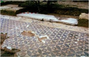 Roman Villa mosaic floor with four petals flowers pattern