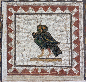 Owl mosaic, Mosaic of the BIrds, Italica, Spain