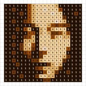Sepia Simulation of Asian Face mosaic