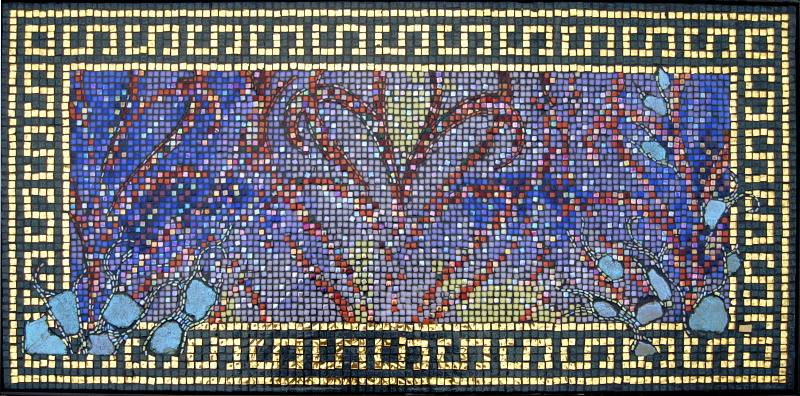 Mosaic Portrait of the enigmatic eyes of a beautiful woman.