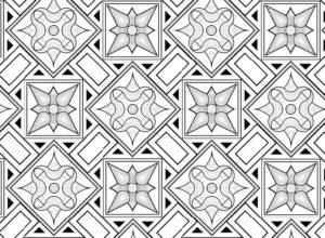 Roman mosaics design - model of a 6 elements piece - Vieux la Romaine