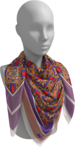 Scarf printed with Great Peristyle mosaic patterns