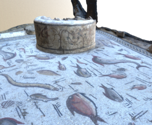 The marine animals represented in the mosaic together with the well