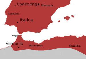 Map of Iberia and Mauretania - 117 AD