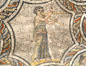 Aulas player mosaic, House of Dyonisos, Volubilis, MOrocco, 2nd century AD