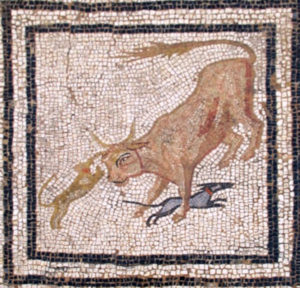 Bull from the big cats mosaic, Volubilis, Morocco, 2nd century AD