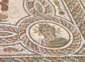Summer personification mosaic, House of Dyonisos, Volubilis, MOrocco