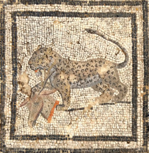 Panther from the big cats mosaic, Volubilis, Morocco