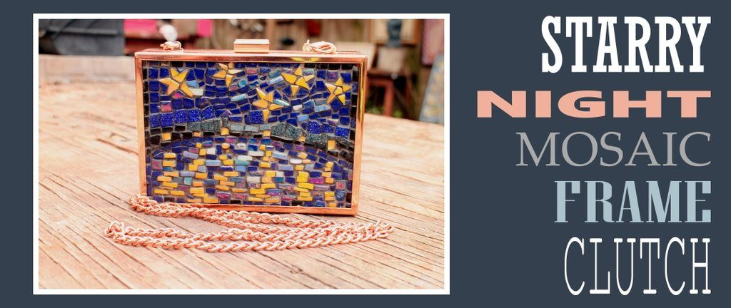 Starry Night mosaic clutch frame