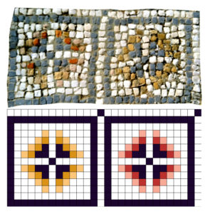 Original and digitized geometric pattern of a floor mosaic in Volubilis, Morocco.