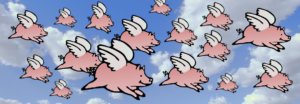 Flying pigs flock heading North