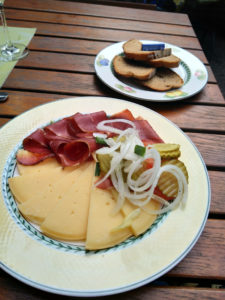 Wild boar ham and local cheese plate in T