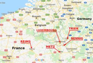 g Nennig between Treves and Metzmap showin