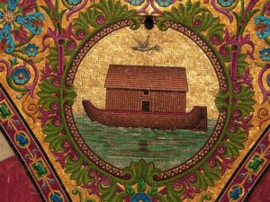 Modern byzantine mosaics rendition of Noah's Ark