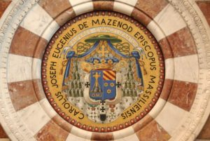 Modern Byzantine mosaics representing the blason of Bishop Mazenod