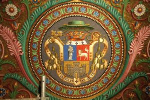 Modern Byzantine mosaics representing the blason of Bishop Place