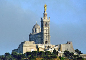 Basilica of Notre Dame de la garde seen from the Vieux POrt