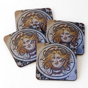 Medusa mosaic, Diocletian's bath, coasters on Redbubble