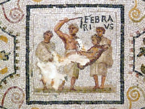 Roman mosaic of Februarius - the month of February, from El Djem, Tunisia