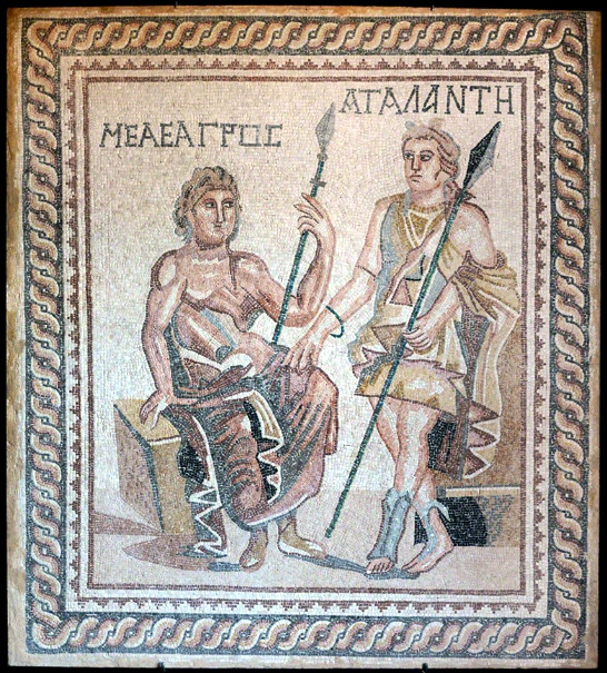 Meleager and Atalanta mosaic, unknown provenace, 1st to 3rd centuryAD