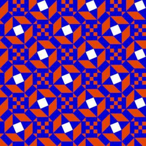 Tri color reproduction of an Ostia Marina geometric mosaic design