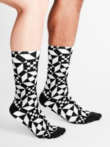 Socks printed with the pattern of the Ostia Marina mosaic.