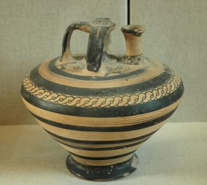 Mycenaean stirrup vase, 14th-13th cent. BC, imported to Ugarit. Acropolis of Ras Shamra (ancient Ugarit). Louvres Museum, Paris Illustration of the permanence of patterns in graphic arts.