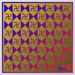 Swastika symbol design inspired by a mosaic from Cherchell, Algeria, ancient Caesarea