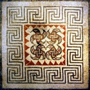 Opus tessellatum svstiska mosaic, Rudston Roman Villa, UK