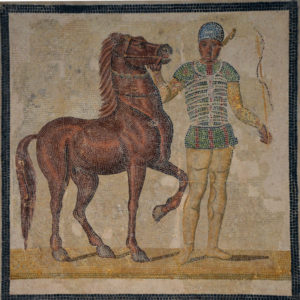 Mosaic depicting a charioteer and horse of the Green faction, 3rd century CE (Palazzo Massimo all Terme, Rome).