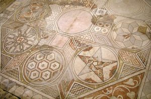 This floor was laid following the local mosaic style, others mosaics in Loupian followed a different style