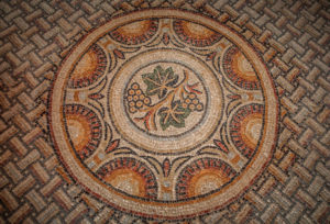 The Seviac Grapevine medallion characteristic of the later Aquitaine School of mosaics